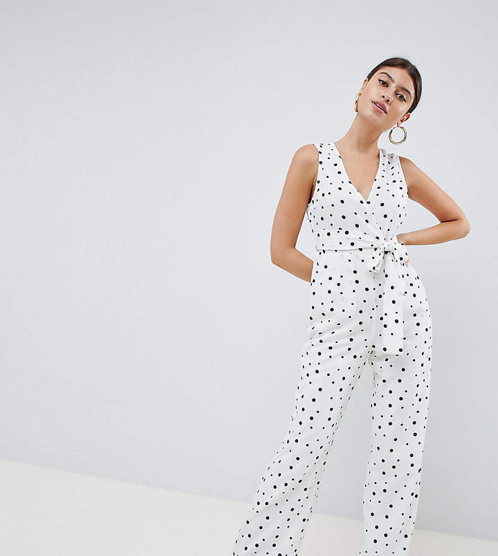 PrettyLittleThing exclusive polka dot tie front jumpsuit