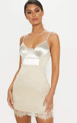 PrettyLittleThing Nude Satin Top Bustier Lace Bodycon Dress