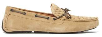 Bottega Veneta Intrecciato Suede Driving Loafers - Mens - Beige