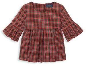 Ralph Lauren Little Girl's & Girl's Tartan Bell-Sleeve Top