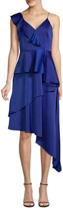 Aidan Mattox Aidan Sleeveless Tiered Asymmetric Dress