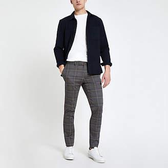 River Island Dark grey check smart ultra skinny pants