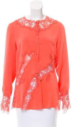 Ermanno Scervino Lace-Accented Silk Top w/ Tags