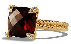 David Yurman Châtelaine Ring with Garnet and Diamonds in 18K Gold