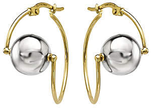 QVC 14K Gold Wire & Bead Two-tone Earrings