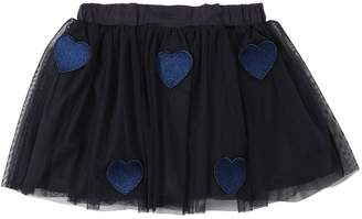 Stella McCartney Lurex Heart Patches Stretch Tulle Skirt
