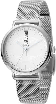 Just Cavalli 34mm CFC Stainless Steel Bracelet Watch w/ Mesh Strap, Silver