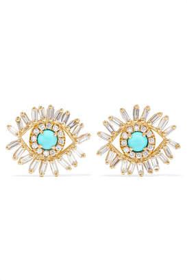 Suzanne Kalan 18-karat Gold, Diamond And Turquoise Earrings