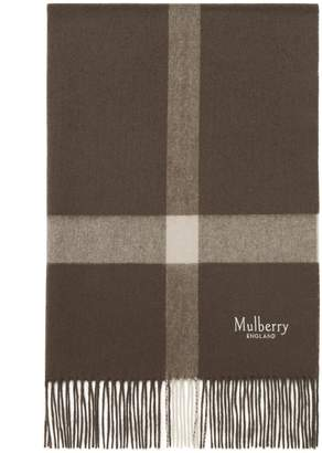 5357da762398c Mulberry Large Check Scarf Dark Clay Lambswool