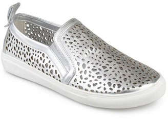 Brinley Co. Womens Faux Leather Slip-on Laser-cut Sneakers