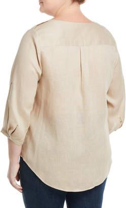 Go Silk Linen Tab-Sleeve Shirt, Plus Size