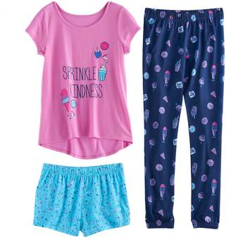So Girls 4-14 SO Graphic Tee, Patterned Shorts & Bottoms Pajama Set