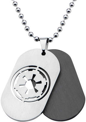 Star Wars FINE JEWELRY Imperial Crest Mens Stainless Steel and Black Dog Tag Pendant