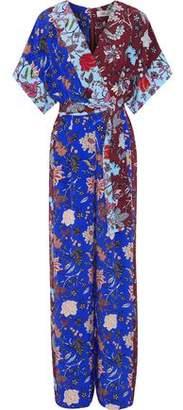 Diane von Furstenberg Wrap-Effect Belted Floral-Print Silk Jumpsuit