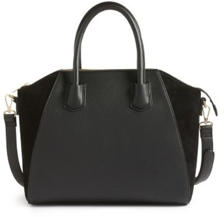 Sole Society Mikayla Faux Leather & Suede Satchel - Black $79.95 thestylecure.com