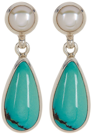 Exex Design Jewelry Sterling Silver Kingman 6mm Natural Pearl & Turquoise Earrings