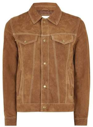 Topman Mens Brown Tan Suede Western Jacket
