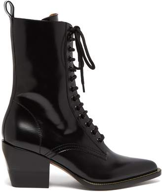 Chloé Point-toe lace-up leather boots