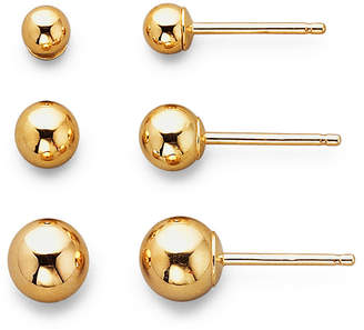 JCPenney FINE JEWELRY Earring Set, 14K Yellow Gold 3-Pair Studs