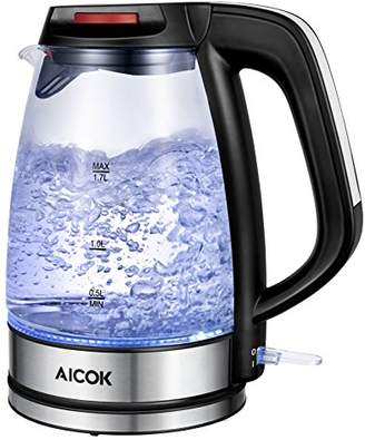 Aicok Electric Kettle SpeedBoil Glass Kettle BPA-Free Tea Kettle 1.7L 1500W Cordless Hot Water Tea Pot Boiler with LED Light