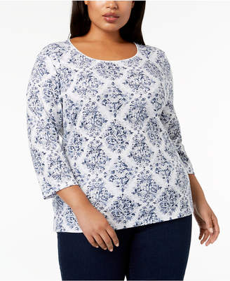 Karen Scott Plus-Size Printed 3/4-Sleeve Top