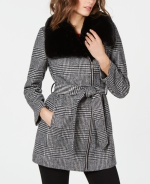 INC International Concepts Inc Faux-Fur-Collar Belted Plaid Coat, Created for Macys
