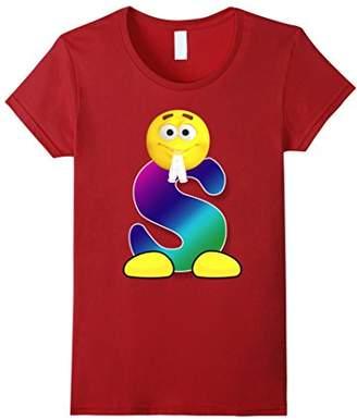 Letter S Alphabet Smiley Face Emoji Shirt for Men Women Kids