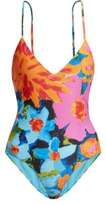 Mara Hoffman Emma Cross Back Swimsuit - Womens - Blue Multi