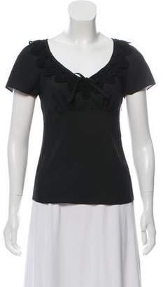 Philosophy di Alberta Ferretti Short Sleeve Lace-Accented Blouse
