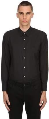 Burberry Slim Cotton Poplin Shirt W/ Check Detail