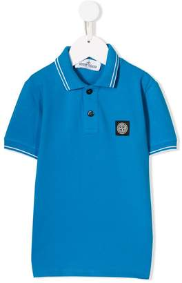 Stone Island Junior stripe trim polo shirt
