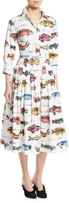 Oscar de la Renta 3/4-Sleeve Fish-Print Cotton Shirtdress w/ Pleated Skirt