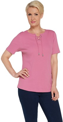 Denim & Co. Rib Lace-up Short Sleeve Top with Curved Hem