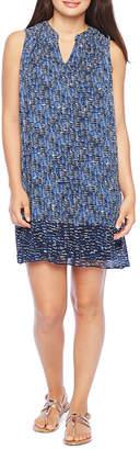 London Times Sleeveless Abstract Shift Dress-Petite