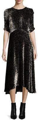 Rebecca Taylor Liane Floral Velvet Midi Dress $525 thestylecure.com