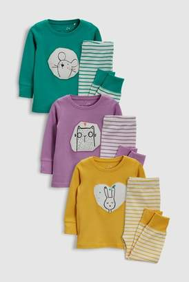 Next Girls Multi Character Snuggle Fit Pyjamas Three Pack (9mths-8yrs)