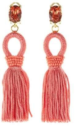 Oscar de la Renta Coral Short Silk Tassel Earrings