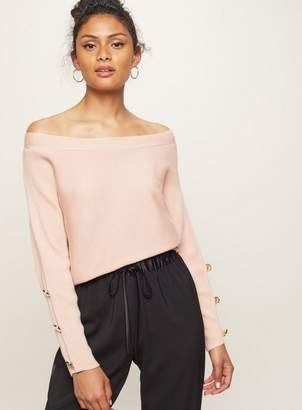 Miss Selfridge Button cuff batwing knitted bardot top