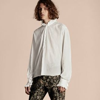 Burberry Ruff Collar Cotton Voile Tunic Shirt $595 thestylecure.com