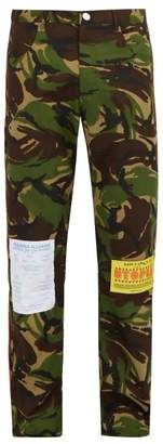 Martine Rose Camouflage Cotton Blend Trousers - Mens - Camouflage