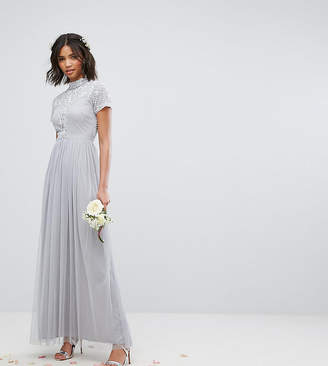 Maya High Neck Embellished Maxi Dress With Tulle Skirt