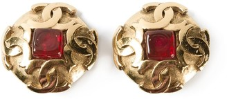 Chanel Pre-Owned round gem clip-on earrings