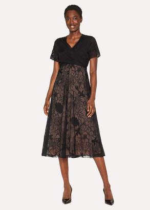 Paul Smith Women's Black 'Ocean' Embroidered Silk-Blend Midi Dress