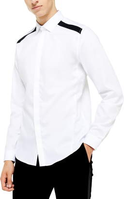 Topman Slim Fit Panel Trim Shirt