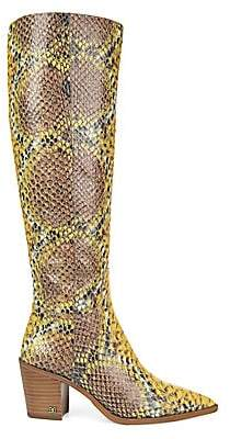 Sam Edelman Women's Lindsey Knee-High Snakeskin-Embossed Leather Boots