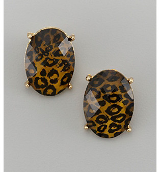 Studio Works® Goldtone & Leopard Faceted Oval Clip Earrings