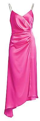 David Koma Women's Asymmetric Ruched Slip Dress