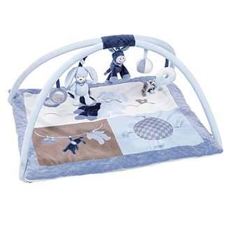 Camilla And Marc Nattou 321242 Baby Krabbeldecke mit Spielbogen, Gepolsterte Activity Decke für Jungen, 80 x 70 cm Spieldecke blau, Alex & Bibou