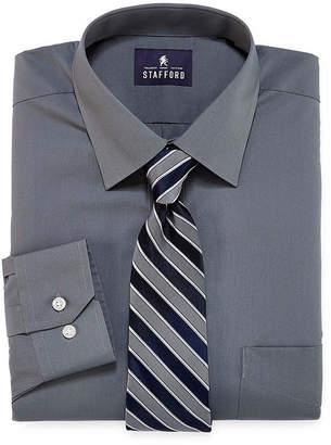 STAFFORD Stafford Travel Easy Care Long Sleeve Dress Shirt and Tie Set- Big & Tall
