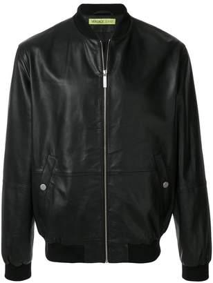 Versace leather bomber jacket